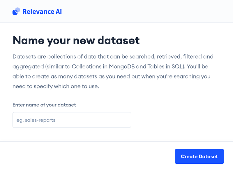 Creating and naming your new dataset in Relevance AI