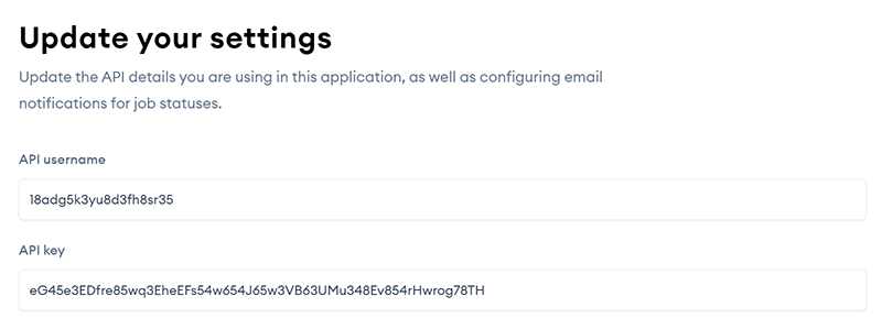 Settings page showing fields for API username and key