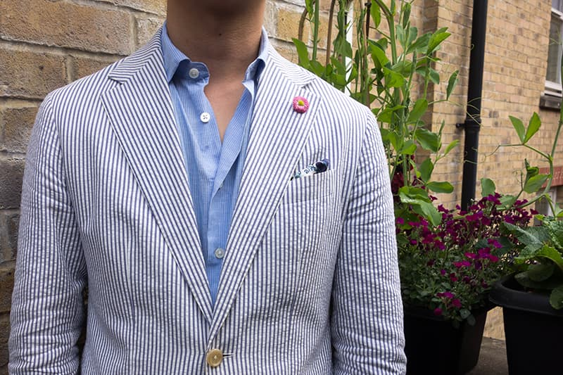 Blue and white striped seersucker suit jacket by Kent Wang
