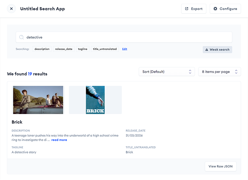 Search App user interface in Relevance AI